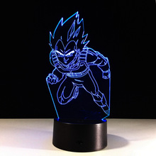 Dragon Ball Z 3D Led Table Night Light Super Saiyan Vegeta Colorful Acrylic USB LED Lighting Dragon Ball Figure