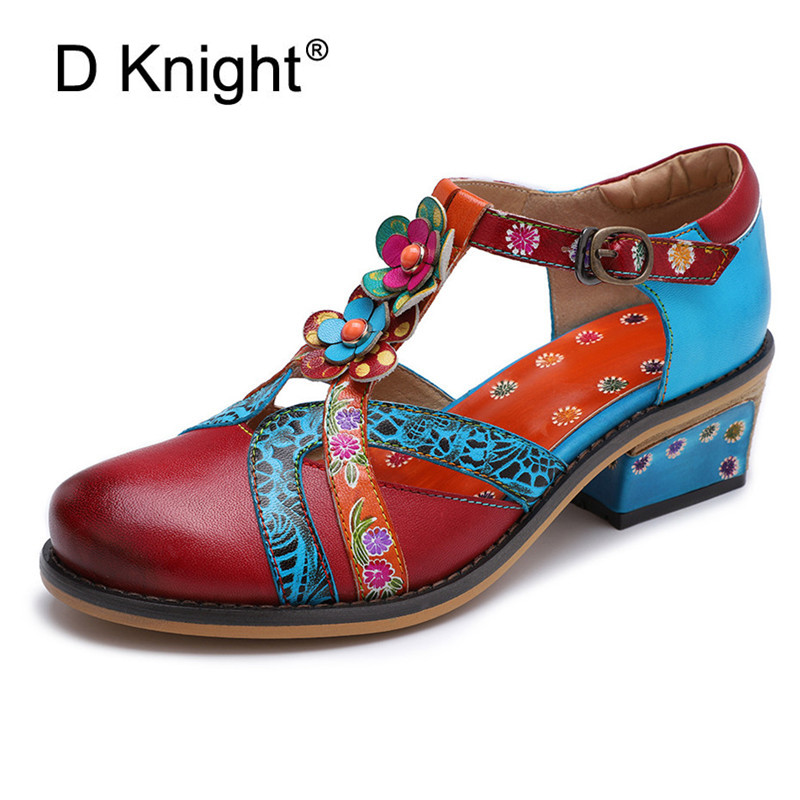 D 나이트 전체 곡물 가죽 샌들 수제 품질 여성 신발 봄 여름 스퀘어 발 뒤꿈치 정품 가죽 펌프 큰 크기 36 42-에서여성용 펌프부터 신발 의  그룹 1