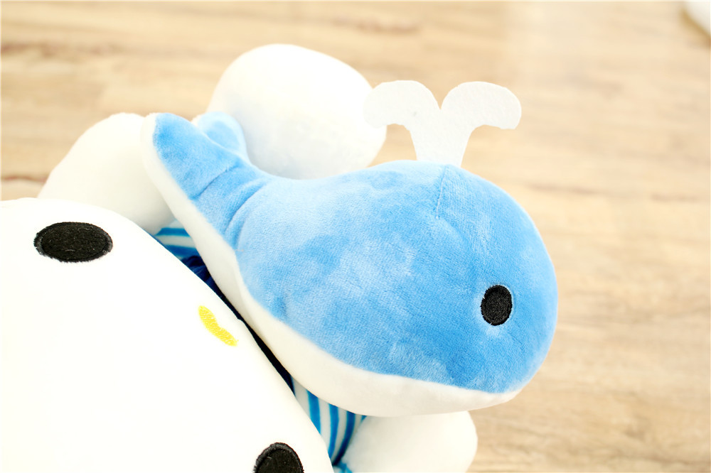 Costume bleu marine conception kitty étreint petit dauphin, charmant kitty environ 35 cm peluche doux oreiller, cadeau de noël h369 - 4