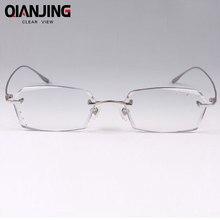 Titane lunettes de myopie cadre hommes des lunettes sans monture de diamant coupe  lunettes avec plat lumière gradient couleur ra. 881da4c38f90