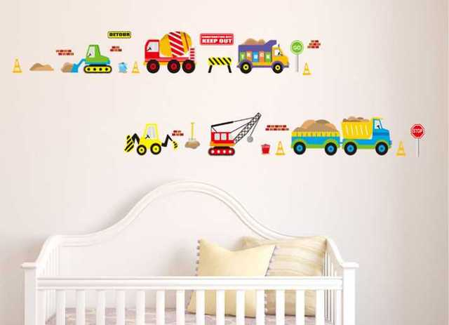 Truck cars builder vehicle diggers and crane room wall art stickers vinyl decal home decoration