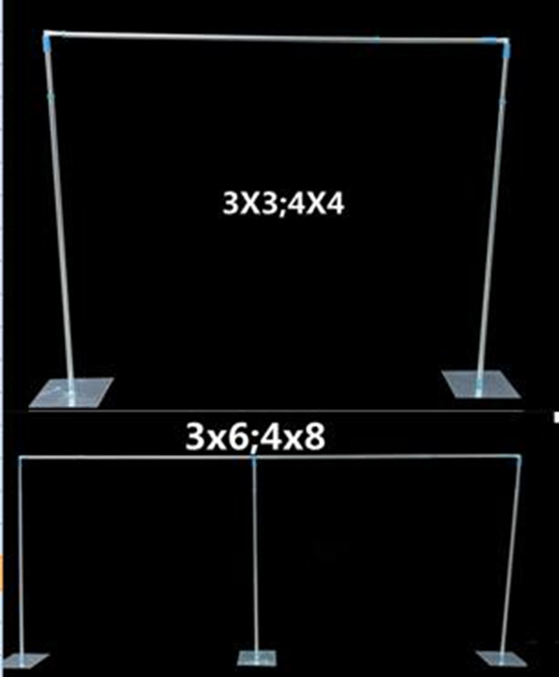 3x3M 3X6M Stainless Steel Pipe Wedding Backdrop Stand With Expandable Rods Backdrop Frames For Wedding Event&Party Decoration R6