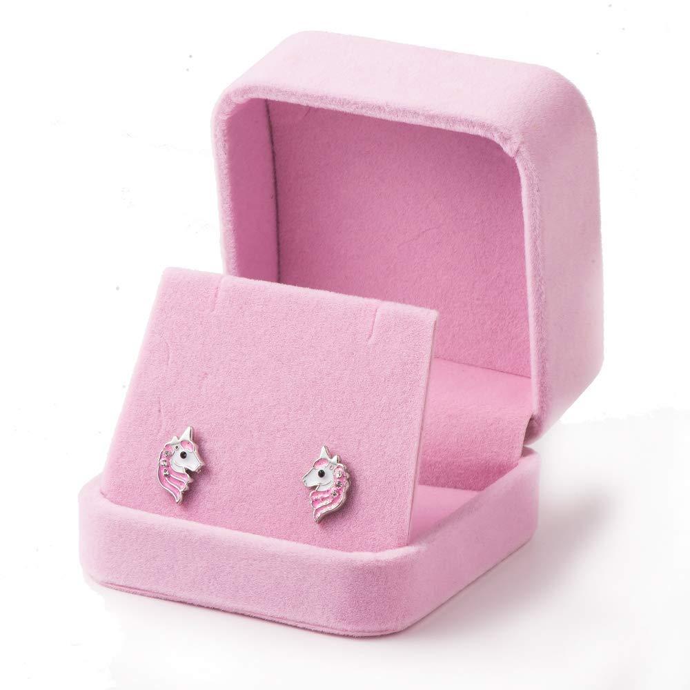 Personalização avançada bonito animal unicórnio brincos do parafuso prisioneiro doce rosa unicórnio brincos para mulheres meninas crianças moda jóias