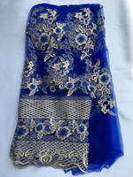 Wholesale 2017 Latest African French Net Lace Fabric with Beaded blue Color High Quality African Tulle Lace Fabric For Wedding