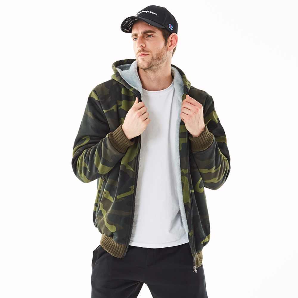 ASALI 冬セット男性暖かいトラックスーツ毛皮インサイドセットメンズ厚手フリースジャケット + パンツ迷彩スーツスポーツパーカースウェット