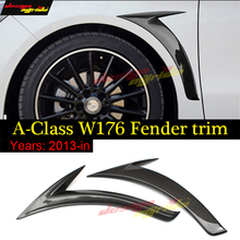 Mercedes W176 Carbon Fiber Side Fender Trim For Benz A Class A180 A200 A250 A45AMG Left And Right Skirt Decoration Paste