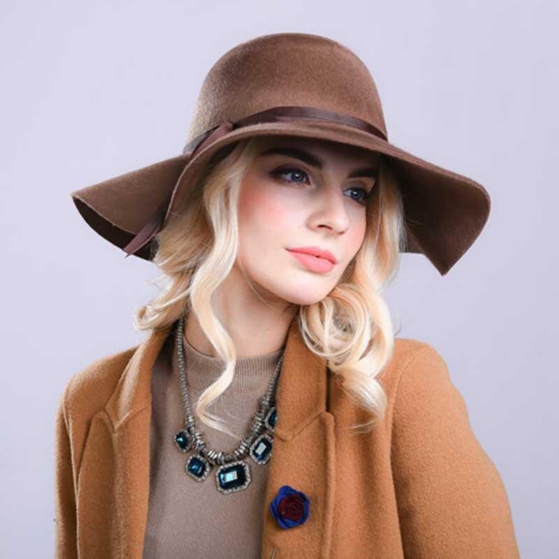 Fibonacci haute qualité femmes laine brossé feutre Fedora chapeau 10 cm grand bord couleur unie élégant dôme Fedoras
