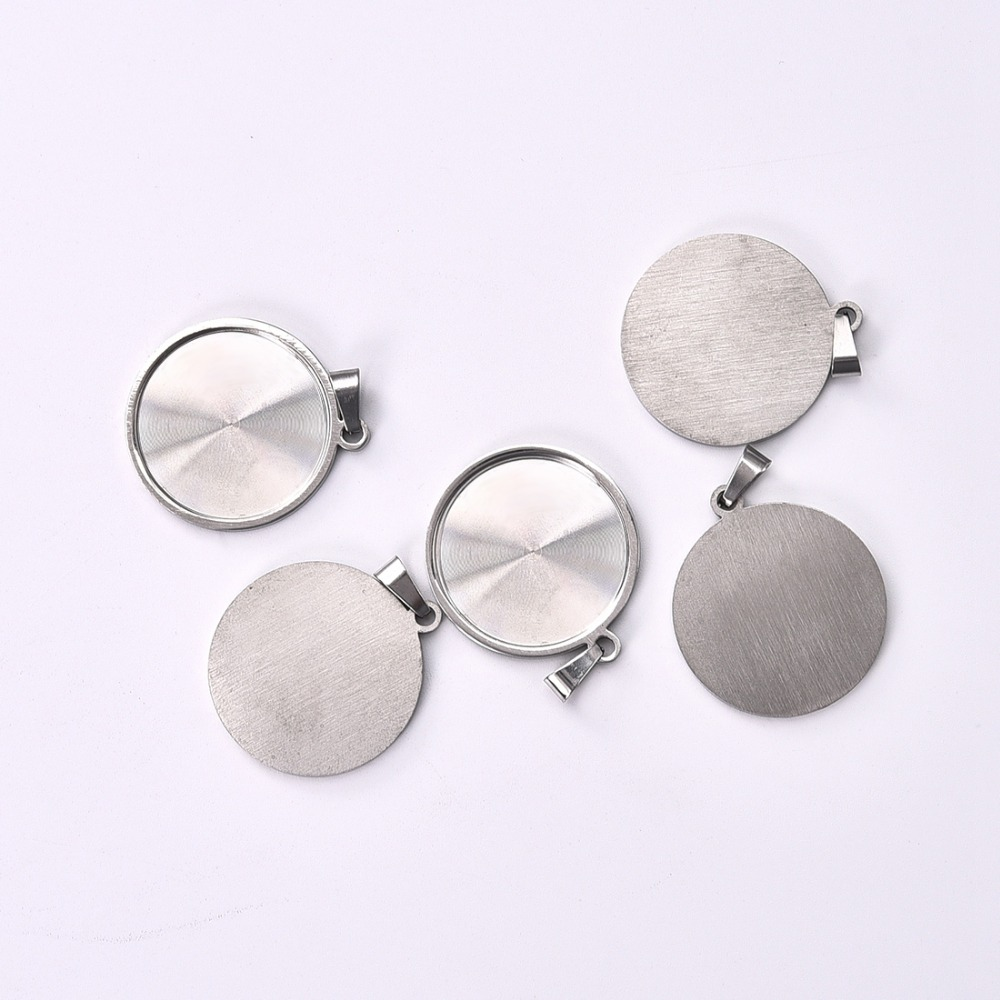 Stainless Steel Pendant Cabochon Setting with Pinch Bail Flat Round 25mm Bezel (5)