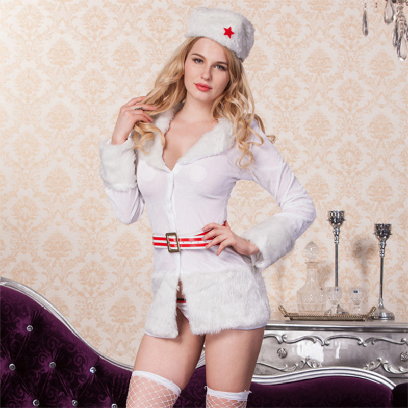 2018 new Christmas white military costumes Christmas snowman nightclub singer uniform temptation white sexy christmas costumes