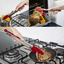 2pcs 9inch 12inch Silicone Food Tong Stainless Steel Kitchen Salad BBQ Cooking Clips