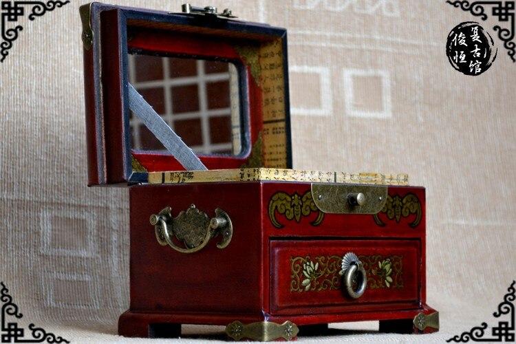 2019 TOP COOL présent-rétro antique vintage propitieux dragon et phoenix rouge bois bijoux boîte cosmétique miroir boîte