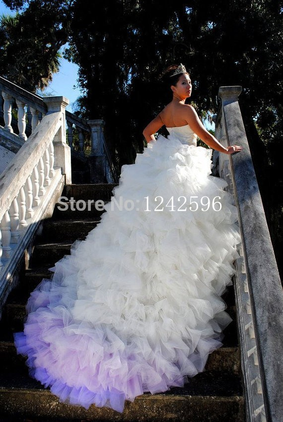 Puffy Colored Bridal Ball Gowns Long Train Backless Sweetheart Forest Style White And Purple Wedding Dresses Vestido De Novia In From