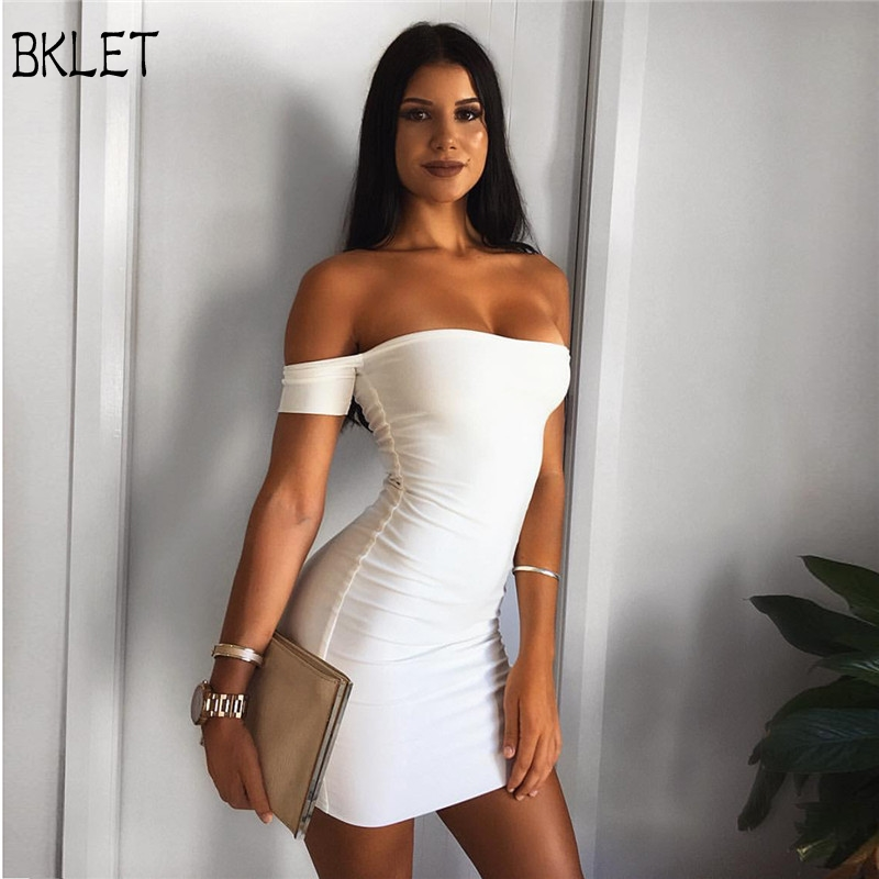 2018 New Summer Ladies Sexy Casual One Word Collar Strapless Solid Short Sleeve Leisure Sweet Tight Dress Vestidos