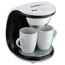 Кофеварка FIRST FA-5453-2 White/black (Капельная, вид кофе молотый, мощность 450 Вт, емкость 250 мл, 2 фарфоровые чашки в комплекте)