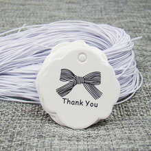 3*3cm white paper thank your bowknot gift swing tag 100pcs+100pcs elastic string for proudcts packing tagging label