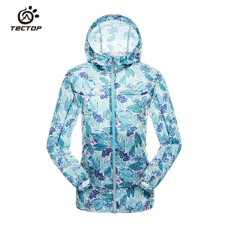 Dropshipping 2017 new brand windproof light dry breathable hiking climbing sports hoodie outdoor light camouflage jacket women
