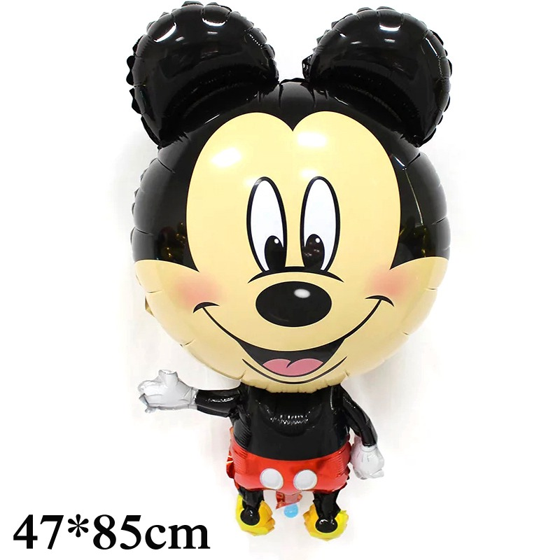 1pc 85*47cm big standing mickey balloons foil material for happy birthday balloons mickey minnie air balloons toy