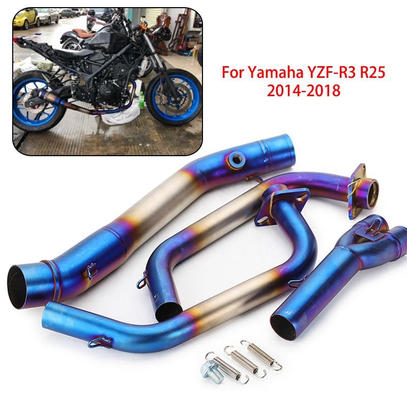 Sans lacet pour Yamaha R25 R3 MT03 2014-2018 accessoires lien d'échappement tuyau intermédiaire MT03 MT-03 YZF R3 R25 tuyau d'échappement complet