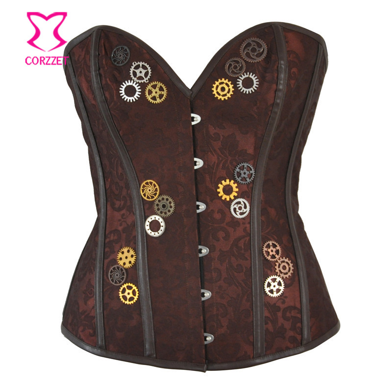 Women Steampunk   Bustier     Corset   Top Brown Jacquard With Gear Overbust Sexy Burlesque Steel Boned   Corsets   Gothique Gothic Clothing