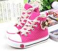 Chicas zapatillas moda zapatos de lona de puntos de corte alto arco rojo negro rosa zapatos de la escuela para niños de los niños pisos girls calzado