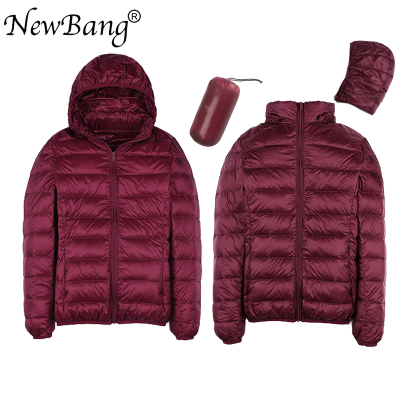 NewBang 8XL 7XL Plus Size Women Duck Down Jacket Ultra Light Down Jacket Women's Hat Detachable Warm Windproof With Storage Bag