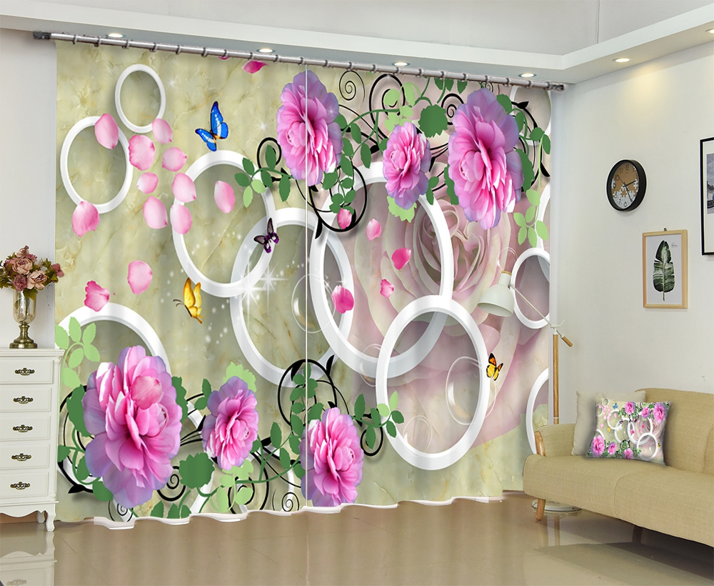 Flowers print Europe Luxury 3D Blackout Window Curtain For Living room Bed room Hotel Wall Tapestry