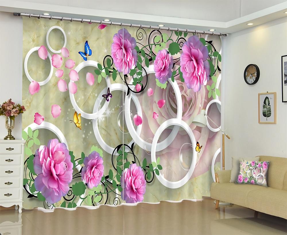 Kwiaty drukuj europa luksusowe 3D zaciemniająca zasłona okienna na pokój dzienny pokój hotelowy gobelin ścienny zasłony Cortinas dekoracyjne w Zasłony od Dom i ogród na  Grupa 1