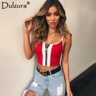 Dulzura zipper red white patchwork crop top 2018 summer autumn women sexy skinny sleeveless cami cotton camisoles