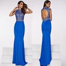 Meerjungfrau Stehkragen Kurzarm Open Back Royal Blue Satin Chiffon Maxi Kleid Stickerei Abendkleid Großhändler in Istanbul