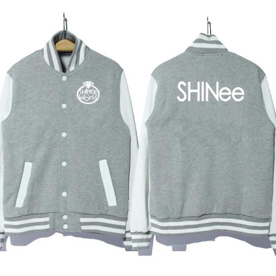 Grupo de música shinee kpop Coréia logotipo uniforme de beisebol jaqueta casaco moletom com capuz 3 cores de boa qualidade