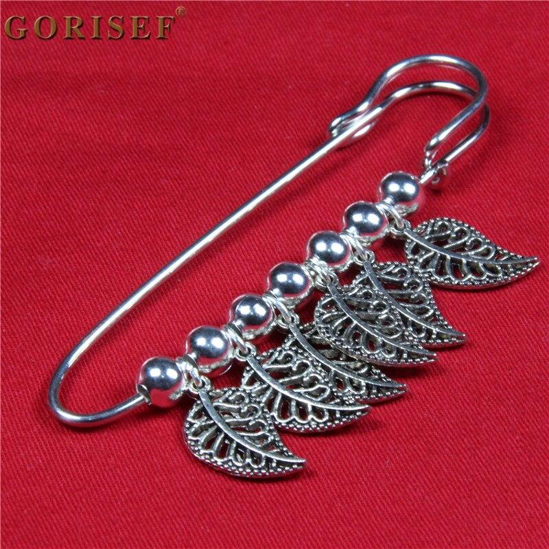 Original design ethnic alloy brooch Tibetan silver hollow leaf pin female orname
