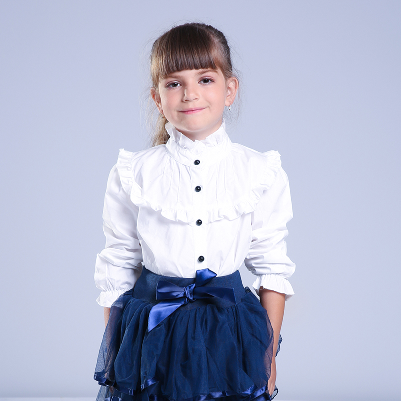 Girl Ruffled Shirt Kids White Clothes Teenager Slim Waist Blouse Fashion Infant Tops School Uniforms Shirts