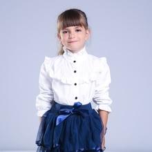 Fille Chemise À Jabot Enfants Blanc Vêtements Adolescent Mince Taille Blouse Mode Infantile Tops Uniformes Scolaires Chemises À Manches Longues Clothing