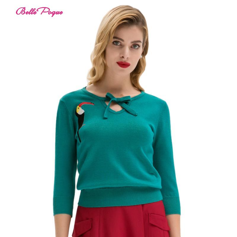 Belle Poque Women's Sweater Retro Vintage 3/4 Sleeve Crew Neck Pullover Woodpecker Printed Embroidery Knitwear Tee Tops