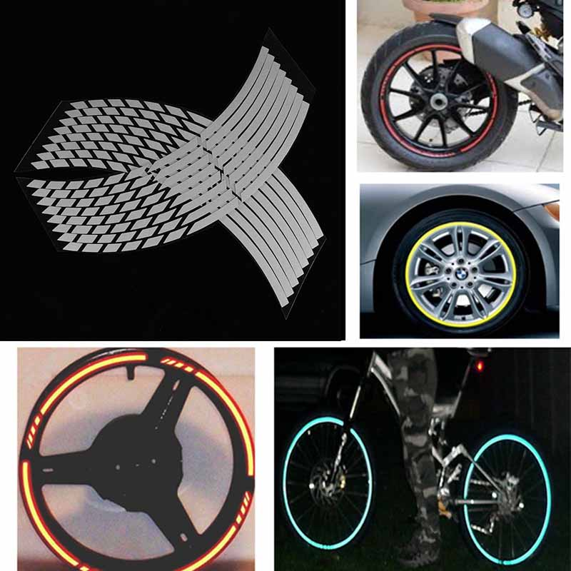 White Grey 16 Strips Wheel Sticker Reflective Motorcycle Car Rim Stripe Wheel Decal Tape