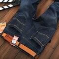 Hombres BusinessJeans Clásico Sólido Ocio Pantalones Vaqueros Pantalones Rectos Para Hombre Casual de Negocios Mediados de Cintura Recta Jeans Hombres de Gran Tamaño 28-40