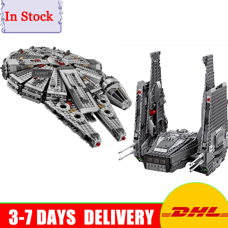 Lepin 05006 Kylo Ren Command Shuttle + 05007 Millennium Falcon UCS Building Blocks Educational Toys Clone 75104 75105 lepin 05006 star kylo ren command shuttle lepin building blocks educational toys compatible with 75104 lovely funny toys wars