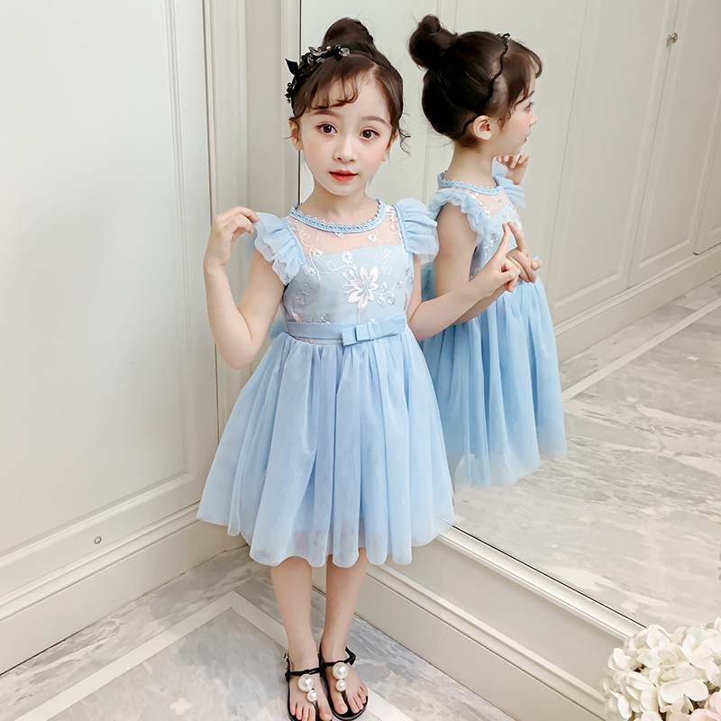 Girls dresses 2019 summer new Kids Flower lace sleeveless Blue princess dress for girl age 2 3 4 <font><b>5</b></font> 8 9 10Years Children Clothing image
