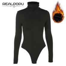 Black Bodysuit Sexy Overalls Turtleneck Romper Women Long-Sleeve Knitted Casual Inner