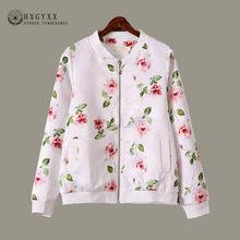 81b7a580b31 2018 Rose Цветочный принт прозрачный куртка для женщин  Большие размеры  Повседневное Бейсбол толстовка на молнии тонкие куртки-б.