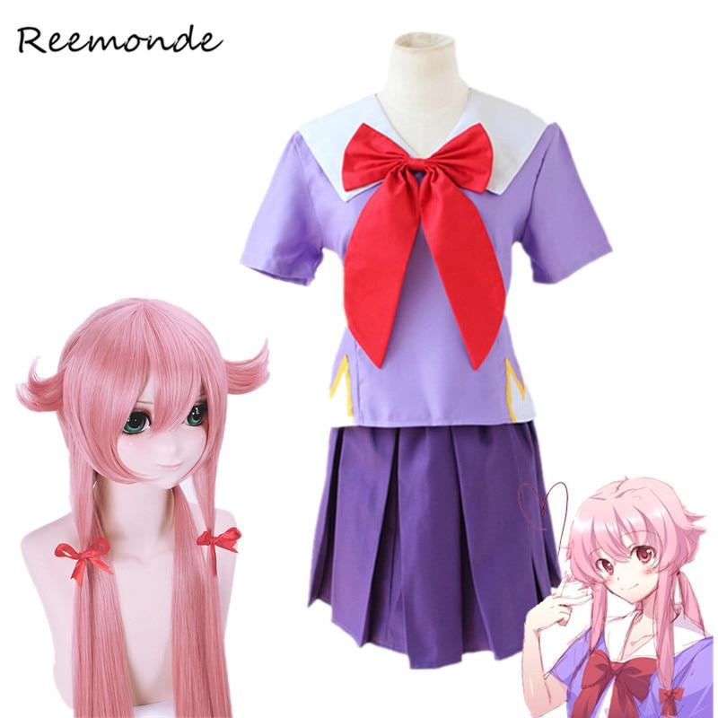 Anime Mirai Nikki Gasai Yuno Cosplay Costumes Gasai Yuno Wig Cosplay In Women Girls Sailor School Uniform Suit Outfit Clothes
