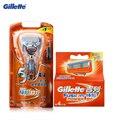 Gillette fusion power eléctrica de afeitar las hojas de afeitar para hombres 1 mango + 5 cuchillas de afeitar de afeitar maquinilla de afeitar cuchillas de afeitar de afeitar maquinilla de afeitar
