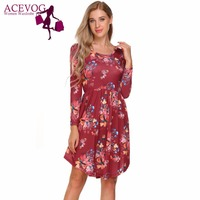 ACEVOG Women Long Sleeve Floral Print Dress With Pockets Summer Autumn Casual Round Neck Knee Length