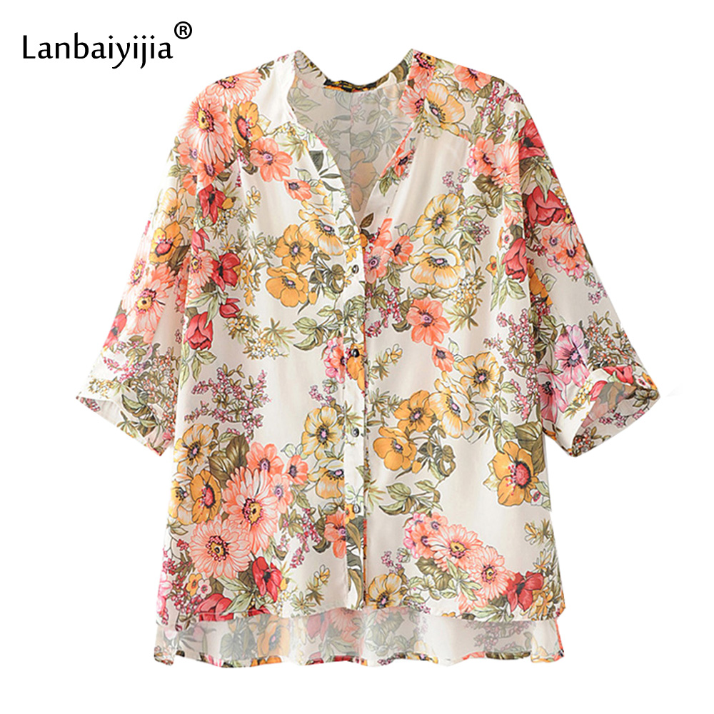 Lanbaiyijia mode à manches longues imprimé chemises à fleurs femmes manches chauve-souris col en v simple boutonnage été femmes chemise 2 couleurs