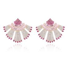 ФОТО xiumeiyizu new arrivals popular luxury fan shape full mirco pave aaa cz zircon earrings fashion jewelry for women