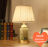 Chinese rural green flower bird ceramic small Table Lamps Vintage fabric shade copper base E27 LED lamp for bedside&foyer MF044