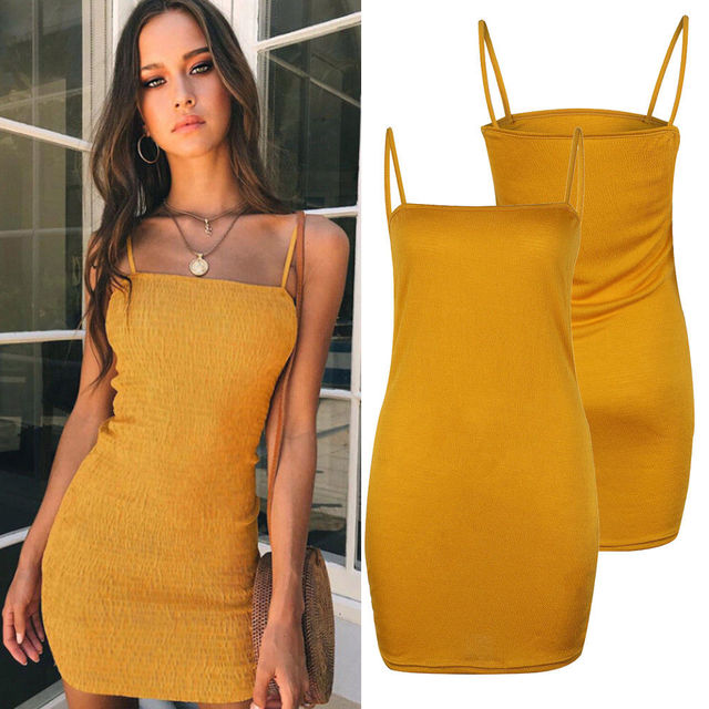 Women Sleeveless Sexy Summer Suspender Dresses Bodycon Party Casual Short Yellow Mini Dress 2