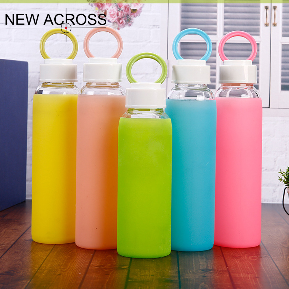 JUH 1Pcs Bicycle Sport Glass Bottle With Heat Insulation Candy Color Home School Office Outdoor Handy Bottle Portable Bottle