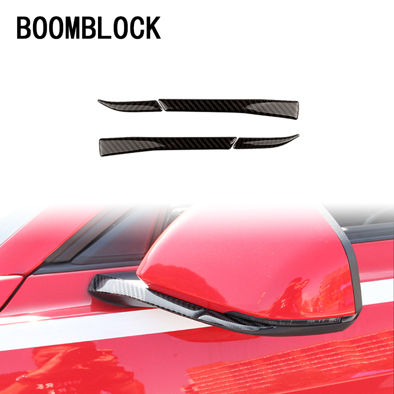 Carbon Fiber Car Rearview Mirror Decor Trim Sticker for Ford Mustang 2015-2018