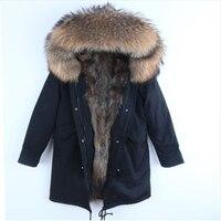 2018 натуральный мех парка для мужчин модная зимняя куртка из меха енота пальто с капюшоном природный енот собака подкладка